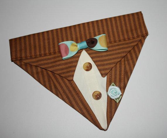 زفاف - Brown Pinstripe Suit Collar Bandana Sz XS S M