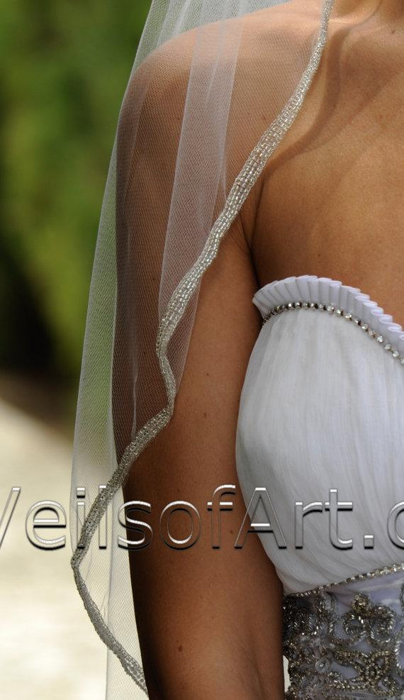 Mariage - Designer One Tier Silver Beaded Bridal Veil Fingertip Style VE306