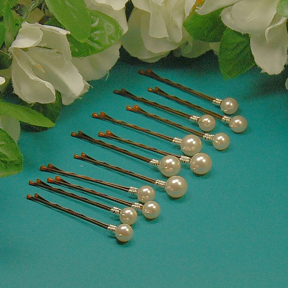 Hochzeit - Ivory Pearl Bobby Pins with 2 Pearl Sizes,  Wedding Hair Accessory, Swarovski Pearls in 10 mm and 8 mm Sizes - Set of 12