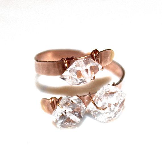 Свадьба - Herkimer Diamond Ring Rose Gold Ring Three Stone Ring Herkimer Ring Pink Gold Rustic Engagement Ring Adjustable Ring Wedding Ring Modern