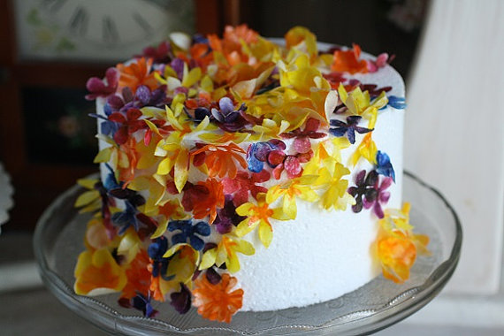 50 Assorted Wafer Paper Flowers For Cake Decorating ...
