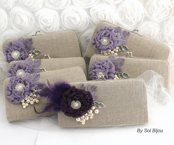 Свадьба - Clutch Linen Bridal and Bridesmaids Clutches, Maid of Honor, Shabby Chic Rustic Wedding in Nude, Silver, Vintage Lilac and Plum -Set of 6