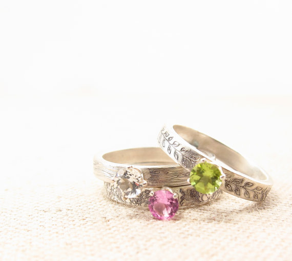 Свадьба - Gemstone Stacking Ring - Promise Ring - Silver Ring - Engagement Ring