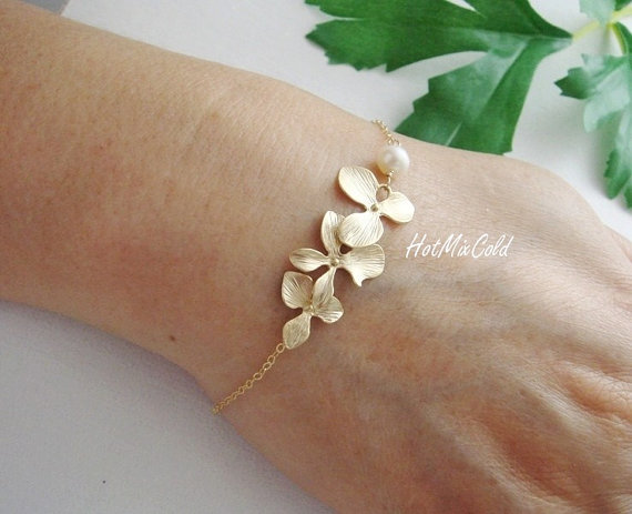 Mariage - Gold Orchid Flowers Bracelet and White Pearl, Gold Fill Bracelet, Birthday, Anniversary, Wedding Bracelet, Bridesmaid Jewelry