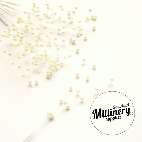 Mariage - 12 Stems Ivory Pearl Sprays (For Millinery, Wedding Bouquets)