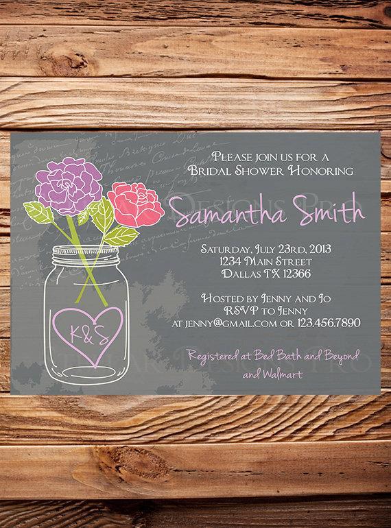 زفاف - Mason Jar Roses Bridal Shower Invitation,Chalkboard, Roses, Mason Jar, Pink, Purple, Coral, Navy, Mason Jar Wedding Shower - Item 1246