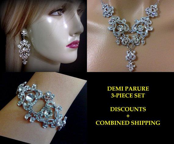 Mariage - Statement Bridal Jewelry Set, Swarovski Crystal Necklace, Chandelier  Earrings, Victorian Bracelet, YOHANNA A