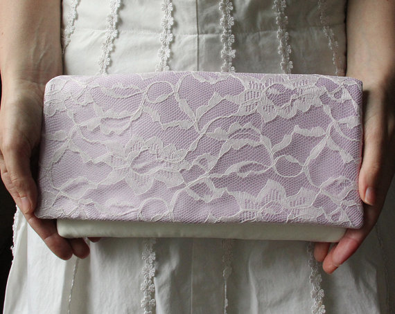 Wedding - The LENA CLUTCH - Orchid Satin and Ivory Lace Clutch - Pale Purple Wedding Clutch - Bridesmaid Gift Idea