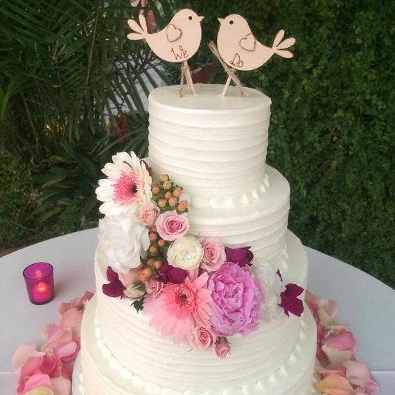 Mariage - We Do, Rustic Wedding Cake Topper, Bird Cake Topper - Rustic Cake Topper, Wooden Cake Topper