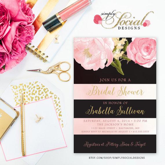 Mariage - Romantic Garden Peonie Flowers Stripes Blush Pink Bridal Shower Invitation Printable