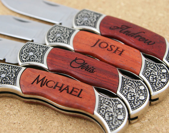 Unique Wedding Gifts For Groomsmen: Groomsmen Knives, SIX PERSONALIZED Custom Engraved Pocket
