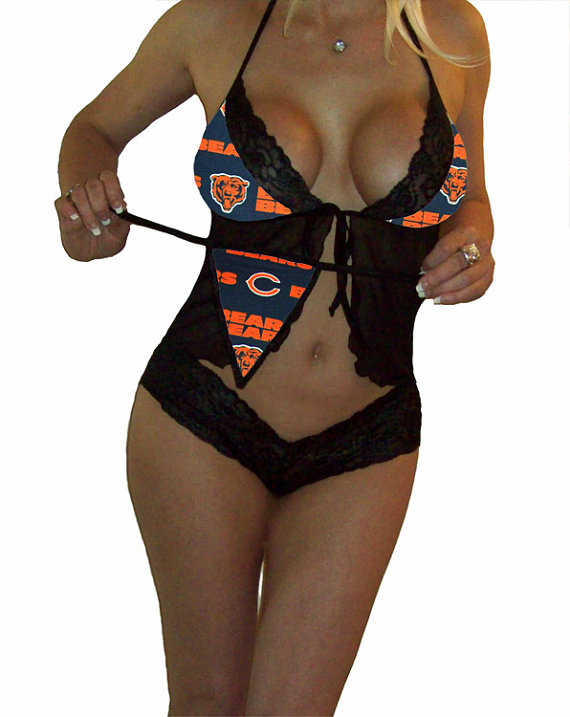 bb13515829b NFL Lingerie Chicago Bears Sexy Cami Top and Lace Booty Shorts Set Plus  FREE Matching G-String Thong Panty
