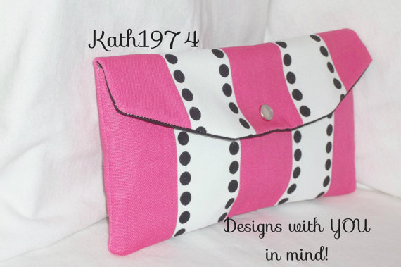 Mariage - Pink clutch - Bridesmaid Clutch - SALE -Envelope Clutch - Wedding Party - Bridesmaid Gift - Premier Prints-Lulu Stripe Candy Pink -Birthday