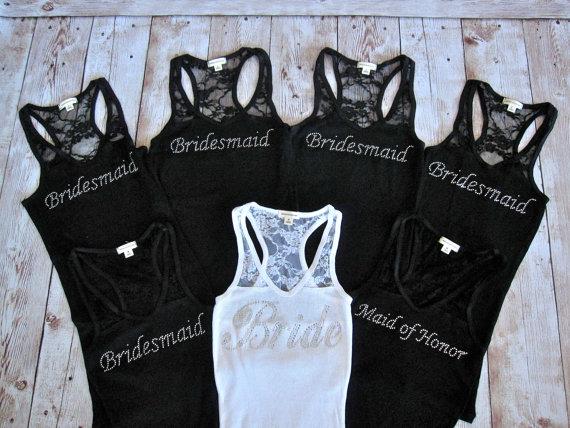7 Wedding Bridal Party Lace Tank Top. Bride, Bridesmaid, Maid Of ...