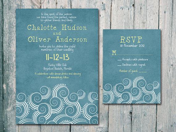 Wedding - Digital - Printable Files - Summer Beach Wedding Invitation and Reply Card Set - Wedding Stationery - ID152