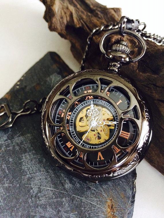 Свадьба - 4 Engraved Mens Mechanical Pocket Watch Personalized Groomsmen gifts Set of 4