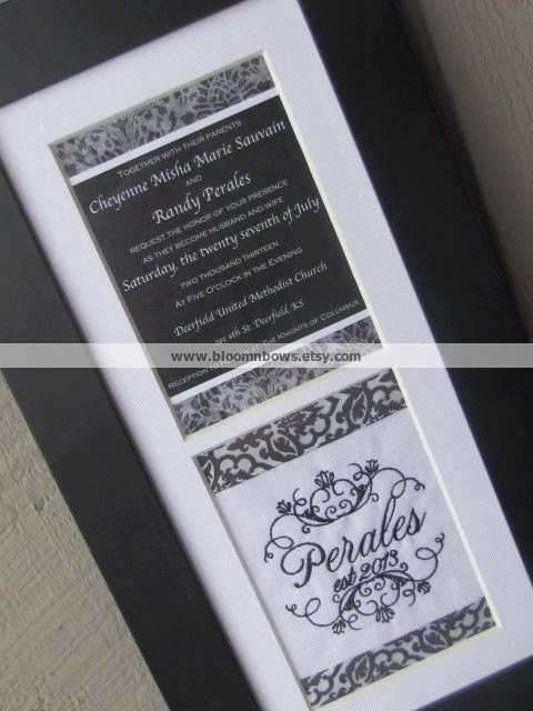 Свадьба - Custom Framed Wedding Invitation Keepsake