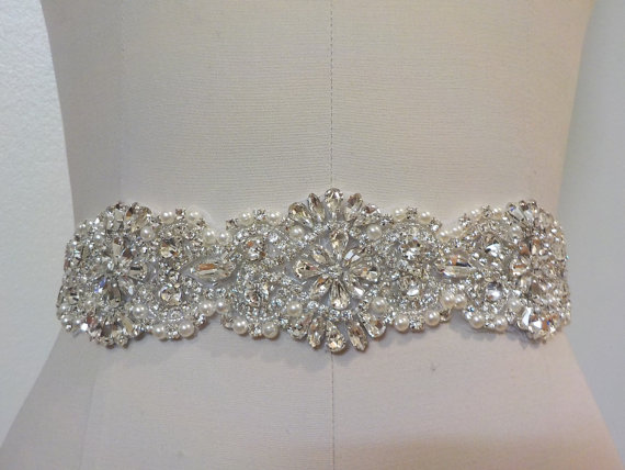 Mariage - SAMPLE SALE - Wedding Belt, Bridal Belt, Sash Belt, Crystal Rhinestone & Off White Pearls  - Style B200099EXL