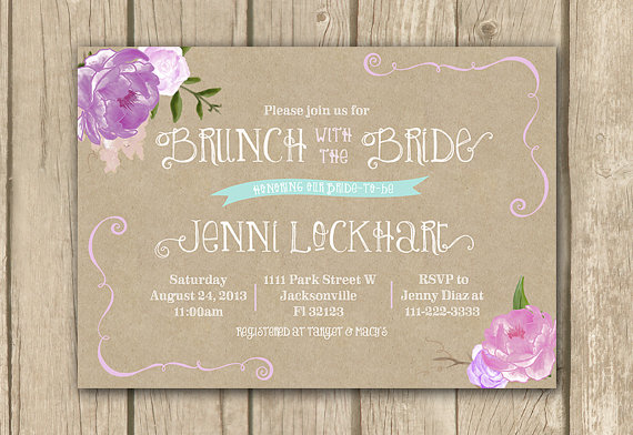 bridal brunch invitation lilac bridal shower invitation lavender floral shower invite printable invitation kraft paperwhimsical invite