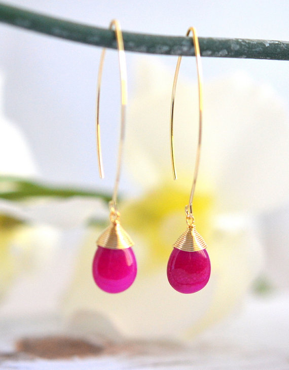 Wedding - Simple Fuchsia Drop Earrings. Dangle Earrings. Long Drop Earrings. Simple Earrings. Bridesmaid Gift.  Wedding Jewelry. Pink Jewelry. Bridal.