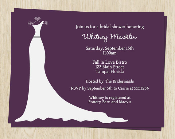 Wedding - Wedding Gown Bridal Shower Invitations, Dress, Purple, White, Gray, Set of 10 Printed Cards, FREE Shipping, SIGOP, Simple Gown Plum