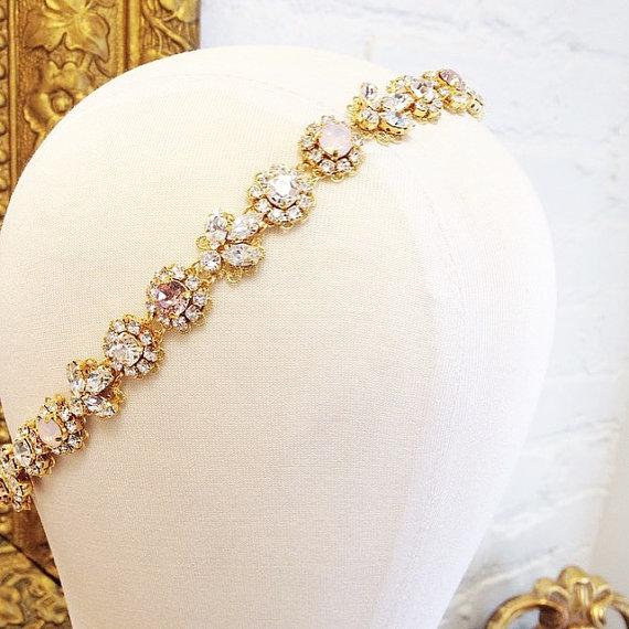 Wedding - RESERVED for VALERIE- Custom order- Crystal Bridal Headband- Opal and Crystal Bridal Headband