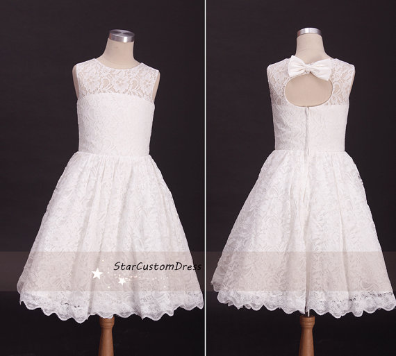 Свадьба - ivory lace flower girl dress with back bow for weddings flower girl tutu dress