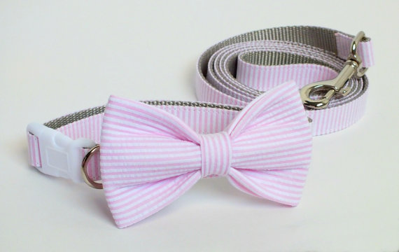 Свадьба - Pink Seersucker Collar and Leash Wedding Set, Flower or Bow Tie