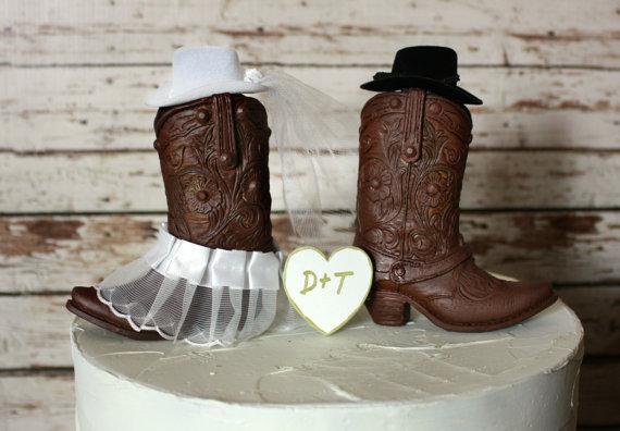 Свадьба - Western cowboy boots wedding cake topper-western wedding-western wedding cake topper-cowboy boot topper