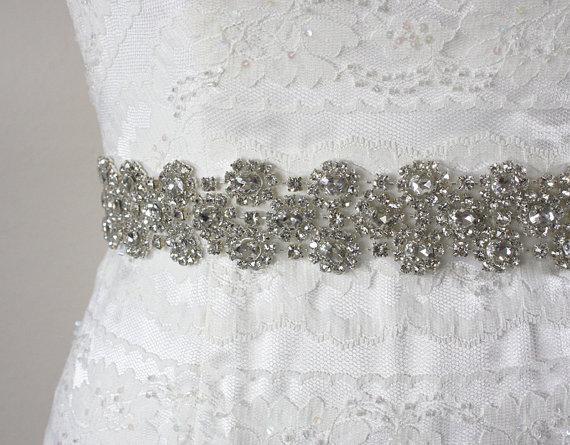 Mariage - ISABELLA - Crystal Rhinestone Bridal Sash, Wedding Beaded Belt, Bridal Belt, Rhinestone Wedding Belts