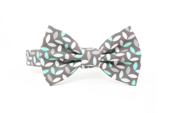 Свадьба - Grey Mint Dog Bow Tie Collar Set Modern Wedding Preppy Dog Bowtie - Jason