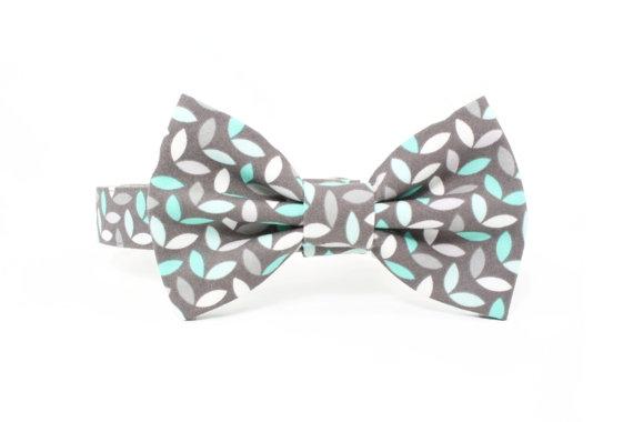 Mariage - Grey Mint Dog Bow Tie Collar Set Modern Wedding Preppy Dog Bowtie - Jason