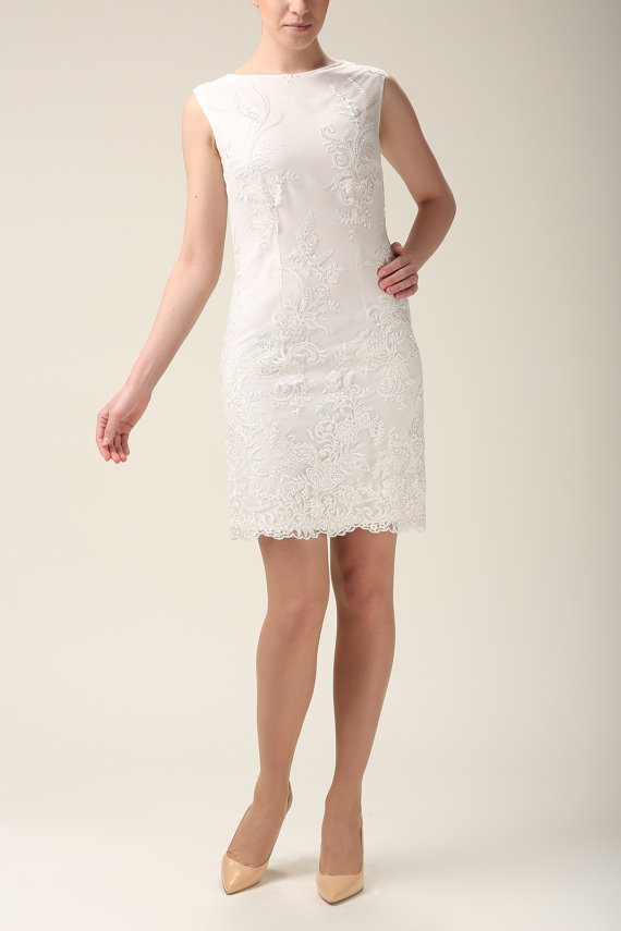 Wedding - Elegant lace dress, wedding lace dress, lace mini dress, wedding dress ecru, ivory dress