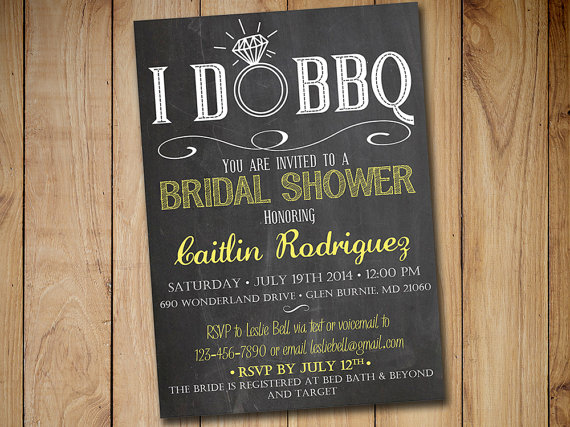 I DO BBQ Bridal Shower Invitation Template   Chalkboard Wedding Shower  Template Yellow   Chalkboard Engagement Party Invitation Download