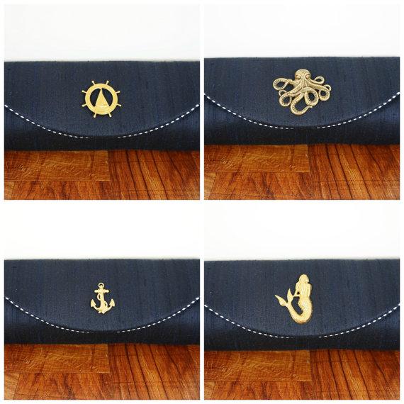 Mariage - Navy blue silk nautical clutch, navy blue clutch purse, silk clutch, nautical wedding, bridesmaid bags