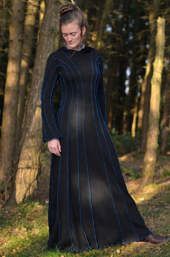 زفاف - Druid Dress with sleeves - Long Dress - Cotton Jersey - Custom Made - Halloween - Samhain - Wedding - For the Fantasy Freak in you