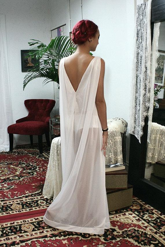 Свадьба - White Bridal Nightgown Keyhole Fitted with Loose Train Effect Back Wedding Lingerie Sarafina Dreams 2014 Bridal Sleepwear