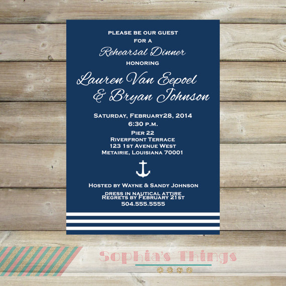 Wedding - Navy and White Rehearsal Dinner Invitation, Anchor Theme Rehearsal Dinner Invitation, Nautical Bridal Shower Invitation, Engagement Party