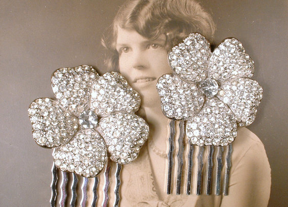Wedding - PAIR Vintage Art Deco 1920s OOAK Pave Rhinestone Bridal Hair Combs, Small Silver Flower Crystal Fur Clips to Hair Accessory GATSBY Wedding