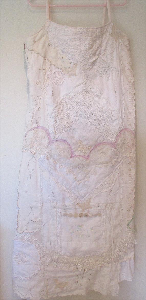 زفاف - ALTERNATIVE VINTAGE Wedding DRESS Fabric Collage Clothing Chic Antique Lace & Linens Altered Garden Beach Wearable Art // mybonny