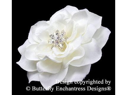 Wedding - Bridal Hair Flower, Wedding Hair Accessory, Headpiece - Starfire Pale Ivory Tahitian Gardenia Flower Hair Clip
