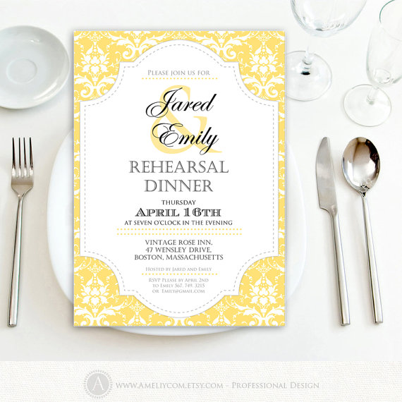 Printable Rehearsal Dinner Invitation Engagement Gold DIY Template Editable Yellow Damask Weddings Invite INSTANT DOWNLOAD