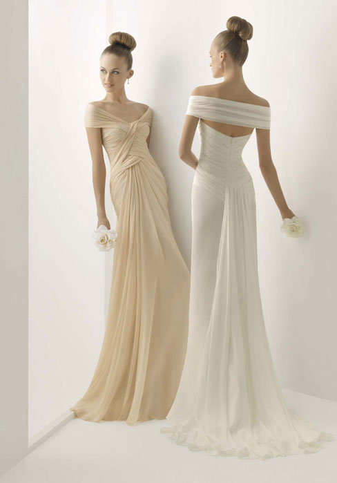 Wedding - Asymmetric Waist Off-the-shoulder Column Brush Train Wedding Dress