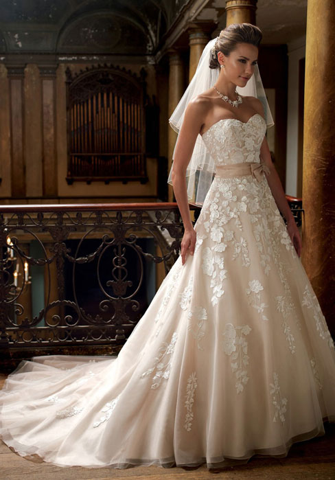 Mariage - A-line Organza,tulle Empire Sweetheart Sleeveless Wedding Dress
