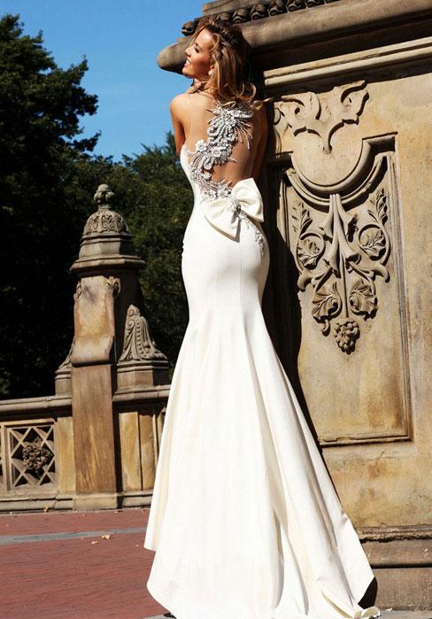 Свадьба - Satin Trumpet One Shoulder Brush Train Natural Waist Wedding Dress