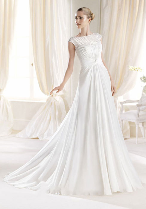 Wedding - Chapel Train Button A-line Chiffon Scoop Wedding Dress