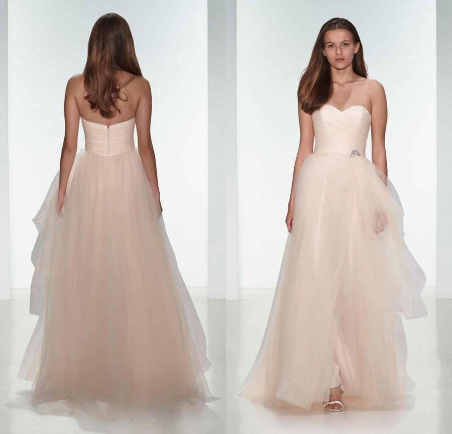 Light Pink Wedding Gown: Elegant 2015 Light Pink Tulle Beach Wedding Dresses