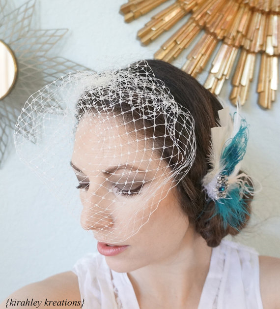 Mariage - YARA -- Wedding Bridal Bride Birdcage Veil, Russian Veiling, Available in White, Ivory, Black and Custom Colors