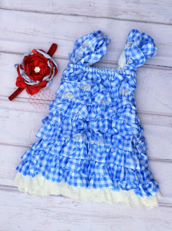 Свадьба - Girls Lace Dress..Winter Wonderland Birthday Outfit..Flower Girl Dress..Vintage Blue Red Outfit..Baby Girl First Birthday Dress..Petti Dress