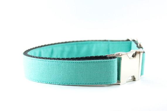 Свадьба - Tiffany Blue Dog Collar - Linen Blue Turquoise Aqua Wedding and Everyday Dog Collar for Small and Large Dogs